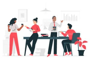 Colleagues working concept illustration